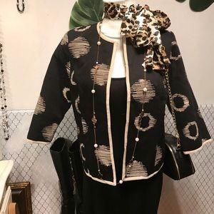 Tweeds black cotton blazer with tan circle print